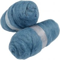 Carded Wool, sky blue, 2x100 g/ 1 pack