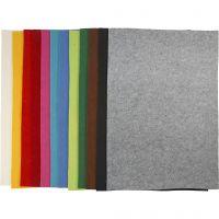 Craft Felt, 42x60 cm, thickness 3 mm, assorted colours, 12 ass sheets/ 1 pack