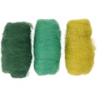 Carded Wool, green/turkis harmony, 3x10 g/ 1 pack