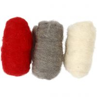 Carded Wool, red/white harmony, 3x10 g/ 1 pack