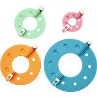 Pom-Pom Makers, D: 3,5+5,5+7+9 cm, 4 pc/ 1 set