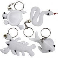 Fabric Figures with key rings, size 4-8 cm, white, 4 pc/ 1 pack