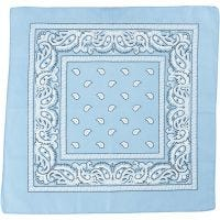 Printed Bandana, size 55x55 cm, light blue, 1 pc