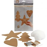 Faux Leather Christmas Ornaments, thickness 0,55 mm, natural, 1 set