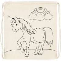 Gym bag, unicorns, size 37x41 cm, 110 g, light natural, 1 pc