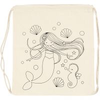 Gym bag, mermaid, size 37x41 cm, 110 g, light natural, 1 pc