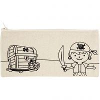 Pencil Case, pirate, size 21x9 cm, 245 g, light natural, 1 pc