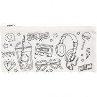 Pencil Case, size 11x23 cm, 210 g, white, 1 pc