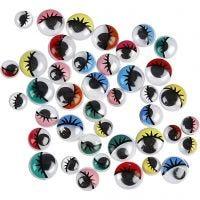 Googly Eyes, D: 8-12 mm, 300 asstd./ 1 pack