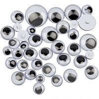 Googly Eyes, D: 8-20 mm, 250 asstd./ 1 pack