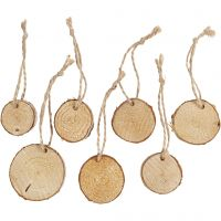 Wooden disc with hole for cord, D: 35-45 mm, thickness 7 mm, 7 pc/ 1 pack