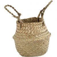 Seagrass basket, H: 11/19 cm, D: 20 cm, 1 pc