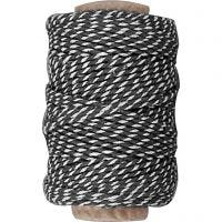 Cotton Cord, thickness 1,1 mm, black/white, 50 m/ 1 roll