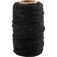 Cotton Cord, thickness 1,1 mm, black, 50 m/ 1 roll