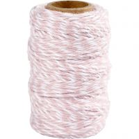 Cotton Cord, thickness 1,1 mm, white/light red, 50 m/ 1 roll