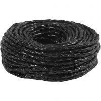 Paper Yarn, thickness 3,5-4 mm, black, 25 m/ 1 roll