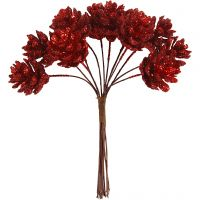 Artificial cones, D: 20 mm, christmas red, 12 pc/ 1 pack