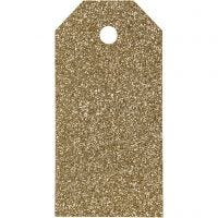 Manila Tags, size 5x10 cm, glitter, 300 g, gold, 15 pc/ 1 pack