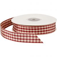 Checked Ribbon, W: 20 mm, antique red/white, 25 m/ 1 roll