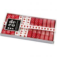 Decorative Ribbon, W: 10 mm, red/white harmony, 12x1 m/ 1 pack