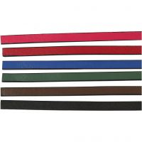 Faux Leather Belt, W: 10 mm, thickness 3 mm, assorted colours, 6x1 m/ 1 pack