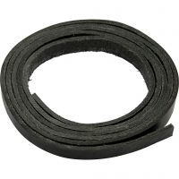 Leather band, W: 10 mm, thickness 3 mm, black, 2 m/ 1 pack