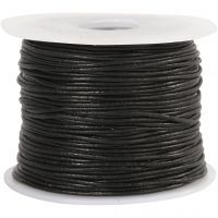 Leather Cord, thickness 1 mm, black, 50 m/ 1 roll