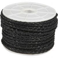 Plaited Cord, thickness 2,5 mm, black, 25 m/ 1 roll