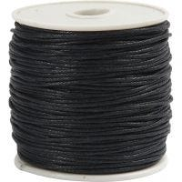 Cotton Cord, thickness 1 mm, black, 40 m/ 1 roll