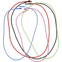 Elastic Necklace with Clasp, L: 46 cm, thickness 1,65 mm, assorted colours, 5 asstd./ 1 pack