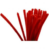 Pipe Cleaners, L: 30 cm, thickness 9 mm, red, 25 pc/ 1 pack