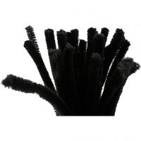 Pipe Cleaners, L: 30 cm, thickness 9 mm, black, 25 pc/ 1 pack