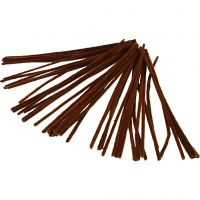 Pipe Cleaners, L: 30 cm, thickness 6 mm, brown, 50 pc/ 1 pack