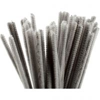 Pipe Cleaners, L: 30 cm, thickness 6 mm, grey, 50 pc/ 1 pack