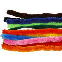 Pipe Cleaners, big, L: 45 cm, thickness 25 mm, assorted colours, 60 asstd./ 1 pack