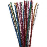 Pipe Cleaners, L: 30 cm, thickness 6 mm, glitter, bold colours, 24 pc/ 1 pack
