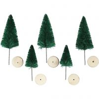 Christmas Spruce Trees, H: 40+60 mm, green, 5 pc/ 1 pack