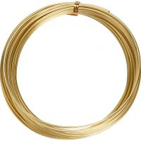 Aluminium Wire, round, thickness 2 mm, gold, 10 m/ 1 roll