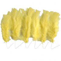 Feathers, L: 11-17 cm, yellow, 18 bundle/ 1 pack