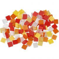 Mini Mosaic, size 5x5 mm, red/orange harmony, 25 g/ 1 pack