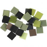 Mini Mosaic, size 10x10 mm, green glitter, 25 g/ 1 pack