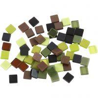 Mini Mosaic, size 5x5 mm, green glitter, 25 g/ 1 pack