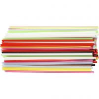 Construction Straw, L: 12,5 cm, D: 3 mm, assorted colours, 3200 pc/ 1 pack
