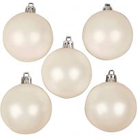 Christmas Ornaments, D: 6 cm, white, mother-of-pearl, 20 pc/ 1 pack