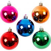 Christmas Ornaments, D: 6 cm, bold colours, 20 pc/ 1 pack