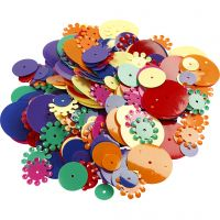 Sequins, round, size 10-25 mm, assorted colours, 250 g/ 1 pack