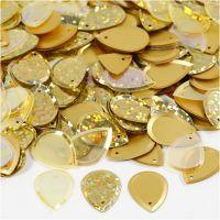 Sequins, raindrop, size 14x19 mm, gold, 50 g/ 1 pack