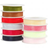 Organza Ribbon, W: 15 mm, assorted colours, 10x20 m/ 1 pack