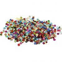 Sequins, round, D: 6 mm, 10 g/ 1 pack