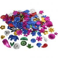 Sequins, size 15-45 mm, bold colours, 400 g/ 1 pack
